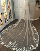 Wholesale one nets for sale - Group buy 3M Long Veil Lace Appliqued Cathedral Length Appliqued White Ivory Wedding Veil Bride Veils Bridal Hair With Free Comb New Arrival