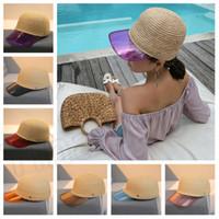kap hawaii toptan satış-Kadın Beyzbol Şapkası m harfi Şeffaf PVC Patchwork Saman Nefes Plaj şapka Snapback Hasır kap T2C5048