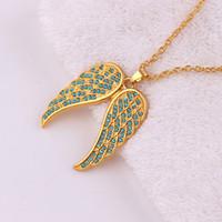 elmas melek kolye toptan satış-L04 Avrupa ve Amerikan moda melek kanatları kolye ile elmas kanat kolye
