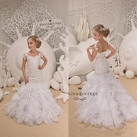 Wholesale lace corset back wedding dresses online - Cute Little White Short Sleeve Mermaid Flower Girl Dresses Sheer Neck Lace Appliqued Tiered Skirts Corset Back Kids Formal Wear