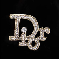 Wholesale mexican costumes women resale online - New Luxury D Letter Brooch Women Famous Designer Costume Suit Brooches Lapel Pin Party Wedding Jewelry Accessories JE0650