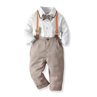 Wholesale shirts suspenders for sale - Group buy Ins boys suits weddings kids outfits long sleeve bow tie shirt suspender trousers kids sets kids designer clothes boys clothes A8411