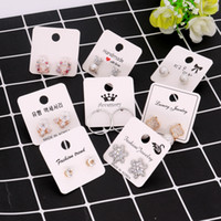 100pcs lot 4x4cm White Color Paper Different Design Colorful Earrings Ear Stud Card Jewelry Display Hang Tag Label Printing