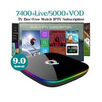 allwinner skype-tv-box großhandel-Q + Plus Allwinner H6 IPTV-Box 1 Jahr IPTV-Abonnement Europa Frankreich USA 7400+ Kostenlose Live-Filme für Android 9.0 TV-Box