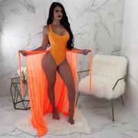 mejores trajes de talla grande al por mayor-Mejor Festival Traje de baño en la playa Crop Top y conjunto de falda Mujeres Trajes de verano Color sólido Sexy Body para mujer Más tamaño Conjuntos de dos piezas