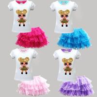 Wholesale boutique dolls resale online - kids designer clothes girls doll outfits children top Tutu Mesh Skirts set Summer fashion Boutique baby Clothing Sets C6515