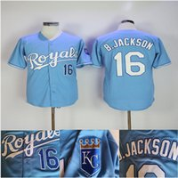 Wholesale light miller for sale - Group buy Men Kansas City Jersey Bo Jackson light blue Royals baseball jersey S XXXL