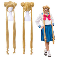 cola de caballo con flequillo al por mayor-ShippingSailor Moon Tsukino Usagi Two Ponytails Buns Bangs largo y rubio cosplay peluca llena