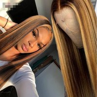 Wholesale brown highlighted hair resale online - Ishow Highlight P4 Straight x4x1 lace human hair wigs b Omber Straight human hair lace front wigs Pre Plucked
