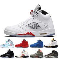 retros 13 toptan satış-2019 Taze Prens 5 kanatları 5 s PSG retros retro Siyah Basketbol Ayakkabı parisLaney oreo Üzüm Uzay Reçel erkek spor Eğitmenler Sneakers 7-13