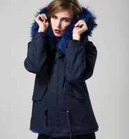 ingrosso donna blu parka coat-donne pelliccia parkas marchio Meifeng donne cappotti da neve blu pelliccia di procione trim parka blu pelliccia di coniglio fodera blu navy mini parka
