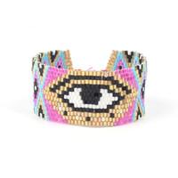 Wholesale sterling cuff wide for sale - Group buy Women Eye Bracelet Colorful Bead Bracelet Wide Wrist Cuff Bangles Girls National Bracelet Friends Lovers Jewelry