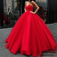 vestidos de baile vermelho glamour sexy venda por atacado-2020 Red Ball New Sexy Vestido Prom Dresses Querida mangas Tulle Andar de comprimento Sexy Festa Open Longo Voltar vestidos de noite vestido glamoroso