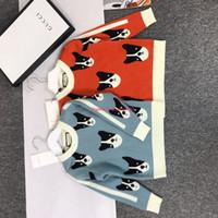 ingrosso cane tessuto cotone-Maglioni per bambini abbigliamento firmato per bambini ricoperto di pullover per bambini e ragazze in tessuto di cashmere con motivo a motivo autunnale