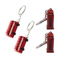 busdekoration großhandel-4 STÜCKE Mode Schlüsselring Bus Keychain Schlüsselanhänger für Dekoration