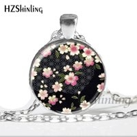 ingrosso collana di fiori di ciliegio-2019 New Fashion Glass Dome Pendant Cherry Blossom Necklace Girls Glass Cabochon Necklace HZ1 NS-00253