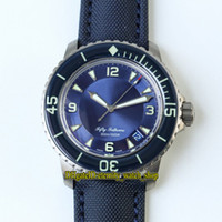 toile de montres achat en gros de-ZF Top Fifty Fathoms Version 5015-12B40-O52A Titanium Case Bleu date Cadran Cal.1315 automatique Mens Watch Sapphire Canvas Bracelet Sport Montres