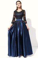 ingrosso abiti banchetti blu-2019 New Hot Long Evening Dress Blu con ricamo in pizzo nero 4 / 3Sleeved Banquet Madre della sposa Abiti Robe De Soiree