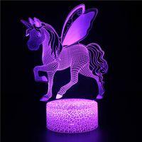 lámparas led de nueva generación al por mayor-Unicornio 3D LED Luz de la noche Mesa de escritorio táctil Lámpara de ilusión óptica Elstey 7 Cambio de color de luz Unicornio Luz nocturna