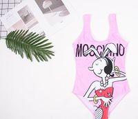 maillot de bain rose vif pour femmes achat en gros de-Summer Hot Cartoon Imprimé Femmes One Piece Sweet Style Bikini Rose Sexy Maillot de Bain Maigre Maillot de Bain