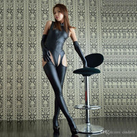ingrosso corpo intercetta aperta-Halloween Christm Womens Sexy Wetlook Look Catsuit con Open Body in cuoio con Bodystoc