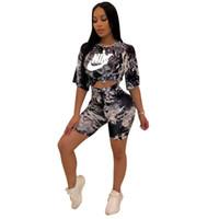 двухкомпонентные короткие наборы оптовых-Галстук окрашенные женщины из двух частей наряды летние шорты наборы НК дизайнер спортивные костюмы обрезать топ футболка шорты мода спортивная одежда бренд наряды