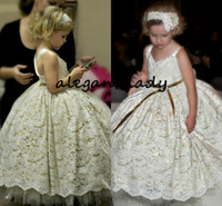 Wholesale vintage princess wedding dresses resale online - Vintage Lace Sequins Flower Girls Dresses Spaghetti Princess Little Infant Toddler Birthday Communion Wedding Party Dress