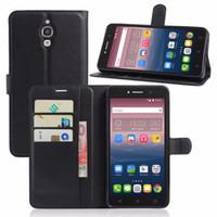alcatel tek dokunmatik flip durumda toptan satış-Flip Lüks Cüzdan PU Deri Telefon Kılıfı Için Alcatel One Touch Pixi 4 6.0 8050D Durumda Arka Kapak
