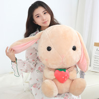 Wholesale rabbit doll wedding resale online - cute fruit lop ear rabbit plush toy big ear bunny doll sleeping pillow for girlfriend gift wedding deco inch cm DY50729