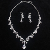 Wholesale jewelry lbs for sale - Group buy Bridal Teardrop Zircon Crystal Necklace Earrings Female Wedding Bridal Women s Jewelry Sets LB