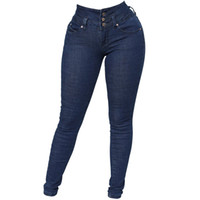 ingrosso jeans pantaloni matite per le signore-Wipalo Donna Amazing Butt Lift Jeans a vita alta elasticizzati Denim Pantaloni skinny con comfort elasticizzato Casual Solid Ladies Matita Pant