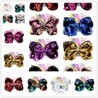 Wholesale mermaid pins resale online - 8inch JoJo Reversible Sequins Bow Hairpin Mermaid Glitter Hair Clip Pin Baby Girl Hairclip Bling Barrettes Hair Accessories with Card A21502