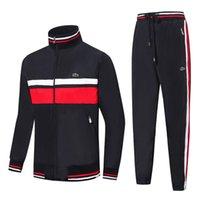спортивные спортивные костюмы оптовых-19ss крокодил французский бренд мужской дизайнер спортивные костюмы удобная одежда для гольфа куртка мужская осень зима теплая куртка спортивный воротник одежда