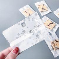 termosellado bolsas de galletas al por mayor-1000 X White Snowflake Heat Seal Pouch Navidad Cookie Candy Bolsa de embalaje de regalo para la fiesta de navidad suministros 7 * 10 cm