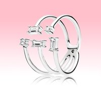 Wholesale new ice cube resale online - New arrival Open Ice cube Ring Women Girls Party Jewelry for Pandora Sterling Silver CZ diamond Rings with Original box