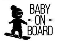 miroir de bande dessinée garçons achat en gros de-16 * 12cm blanc noir bébé à bord de la décalcomanie de voiture, garçon sur la planche à neige vivyl autocollants CA-582