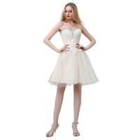 dans seksi elbise kısa toptan satış-Yeni 2019 seksi şampanya askısız elbisesi kısa elbisesi ışıltılı elmas bant yemeği ve dans kokteyl elbisesi