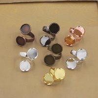 anillo de joyas en blanco bandejas al por mayor-20 unids Fit 12mm DIY Cobre doble base de anillo de plata de oro rosa en blanco anillo de ajuste de la joyería bisel bandeja diy hallazgo ornamento componente