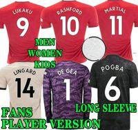 camisas de futebol kit completo venda por atacado-POGBA camisa de futebol completo VERSÃO DO JOGADOR FAN 2019 2020 LINGARD LUKAKU RASHFORD homem camisa de futebol UniTEd UtD 19 20 Kid kit Manchester