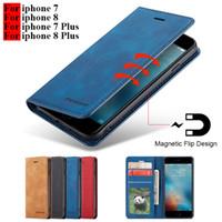 cajas del teléfono del tirón del metal al por mayor-Para el caso del iphone 8 Flip Funda magnética del teléfono en Hoesje iphone 7 8 Plus Fundas Funda de cuero para el teléfono 7 8 Plus Apple Cases