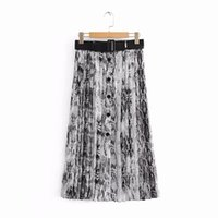 плиссированная юбка юбка оптовых-2018 New Women Vintage sexy snake skin printing pleated midi skirt faldas mujer ladies PU sashes chic mid-calf skirts QUN166