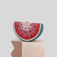 Wholesale sweet watermelon for sale - Group buy Women Fashion Handbag Pearl Crystal Diamond Studded Watermelon Fruit Sweet Clutch Purse Metal Frame Chain Strap Lady Party Bag
