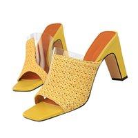 saltos kaki amarelos venda por atacado-2019 Mulheres 8.5 cm de Salto Alto Mules Shales Azul Slides Feminino Bloco de Salto Chinelos Sexy Verão Amarelo Rosa Baixo Sapatos de Luxo
