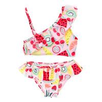 Wholesale girls bathing suit kids swim for sale - Group buy Kids Girl Two Piece Swimsuit Summer Split Quick Drying Beach Sling Swimwear Kids Designer Ruffled Swim Trunks Fruit Printed Bathing Suit