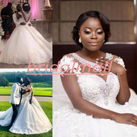 Wholesale white black short wedding dresses for sale - Group buy Sexy Beaded Crystals Tulle Plus Size Wedding Dresses With Hand made Flowers Illusion Neck Plus Size Bridal Dress Sexy African Wedding Gowns