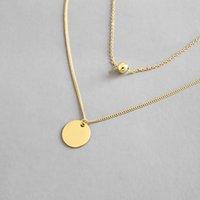 ingrosso collana di strati di strato-Collane a catena multi strato dell'argento sterlina 925 per le donne Nuova collana geometrica semplice del pendente dei gioielli di RoundBeads Fine