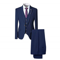 chaleco navy oscuro al por mayor-2018 Dark Navy Satin Suit para hombres Clasic Fit 3 piezas para hombre Blazer One Button Tuxedo Business Wedding Party (chaqueta + pantalones + chaleco)