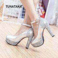 gelinler beyaz pompa düğün ayakkabısı toptan satış-Kırmızı Siyah Beyaz Altın Gümüş Blok Yüksek Topuklar Kadınlar Platformu 2019 Parti Düğün Gelin Bayan Ayakkabıları Payet Chunky Topuklu