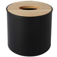 capa móvel de madeira venda por atacado-Recipiente moderno de toalha de papel com o frasco de toalha de papel de tampa de madeira do suporte do telefone móvel