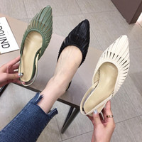 Wholesale black tip flat shoes for sale - Group buy woman sandals fashion Lady Low heeled shoe tip Toe cap Hollow design Asian size cute high grade